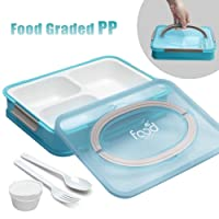 Bento Box 3 Compartments Lunch Containers BPA-Free Lunch Boxes for Kids Adults Work...