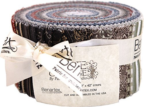 Painted Sky Studio Stone Cottage Pinwheel 40 2.5-inch Strips Jelly Roll Benartex (Stone Strip)