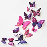 Kingko 12x 3D Butterfly with Pin Wall Sticker Fridge Curtain Buckle Clothing Decoration Room Decor Decal Applique (Purple)