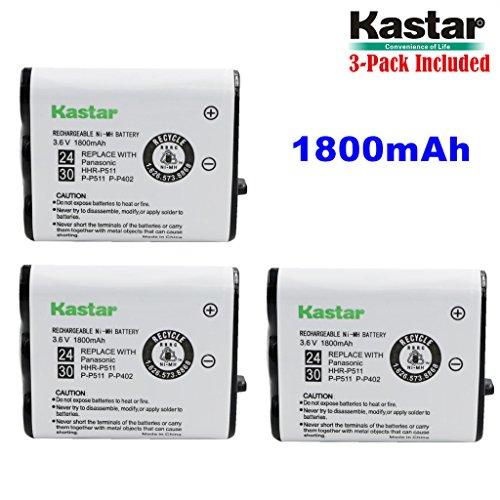 Kastar HHR-P511 / HHR-P402 Battery (3-Pack), Type 24 / 30 NI-MH Rechargeable Cordless Telephone Battery 3.6V 1800mAh, Replacement for Panasonic HHR-P511, HHR-P402, P-P511, P-P511A, HHR-P402A