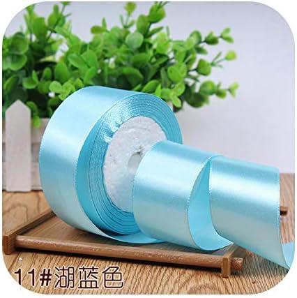 kawayi-桃 6/10/15/20/25/40 / 50mmサテンリボンDIY人工シルク工芸用品ソーイングアクセサリースクラップブッキング素材ギフトボックスベルト-lake blue-10mm