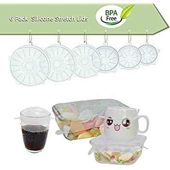 6PCS/Set Silicone Stretch Fresh Food Cover/Lid for Various Sizes and Shapes of Containers(Clear )