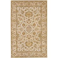 Surya Crowne CRN-6011 Classic Hand Tufted 100% Wool Parchment 5 x 8 Traditional Area Rug