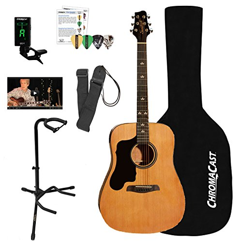 Sawtooth Left-Handed Acoustic Dreadnought Guitar with Black Pickguard & ChromaCast Accessories, Natural