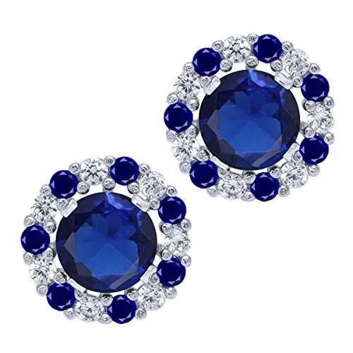 Gem Stone King Sterling Silver Round Blue Simulated Sapphire Earrings with Removable Jackets (1.46 cttw)