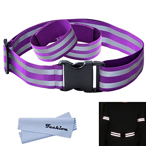 Techion Reflective Elastic Fabric Waist Belt Band with Buckle Clip and Ankle/Arm Bands (Pair) for Cycling / Biking / Walking / Jogging / Running Gear Vest and Outdoor Sports (Purple) (Arms Belt Buckle)