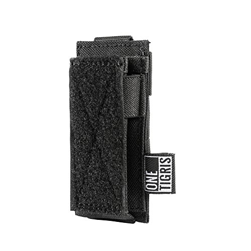(OneTigris Single/Double/Triple Pistol Mag Pouch with Front Loop Panel for Glock M1911 92F Magazines 40mm Grenade (Single-Stack, Black) )