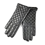 SIEFERSN Elegant Embroidered Lattice Pattern Women's Nappa Leather Gloves Full Touchscreen Winter Warm Gloves 1164125040 (Large 7.5'', Black (Full Touchscreen/Soft flannel Lining))