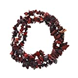 Fantasia Gallery: 1 pc Hand Made Natural Brecciated Jasper Gemstone Chip Triple Strand Braided Stretch Bracelet for Adults and Children