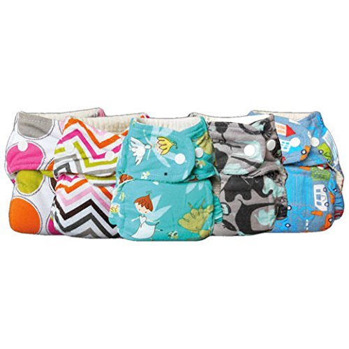 Bummis Flannel Fitted Diaper - Organic Cloth Diaper - Girl Print -Colors May Vary