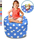 BeanBob Stuffed Animal Storage Bean Bag Chair in Blue w/ Polka Dots – 2.5ft Large Fill & Chill Space Saving Toy Organizer for Children – For Blankets, Teddy Bears, Clothes & Bedding