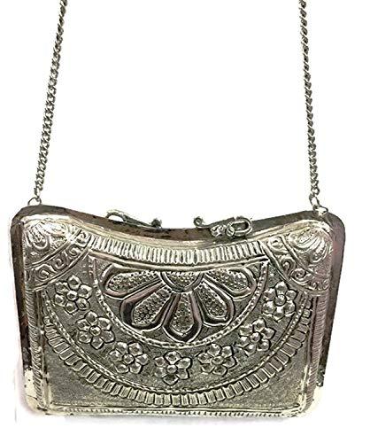 Trend White Bag Handmade Brass Ethnic Vintage Purse Wallet Metal Clutch Silver rrdwpHq