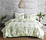 CoutureBridal Plant Print Duvet Cover Set Twin Size 66''x90'' Green Leaf Flower Flower Printed Pattern Lightweight Microfiber Modern Bedding 3 Pieces with Zipper,1 Duvet Cover 1 Pillowcases