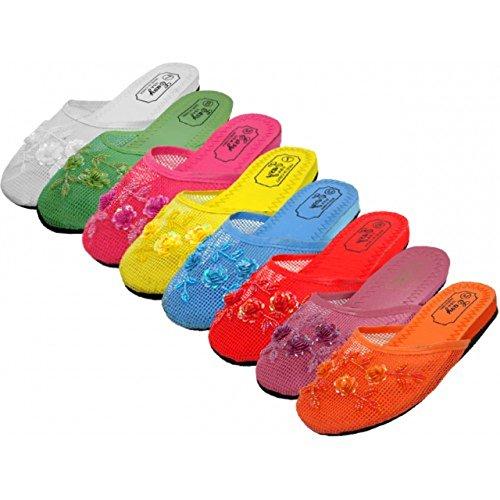Bewild 3 Pairs Assorted Mesh Chinese Slippers (Women's US SIZE 8)