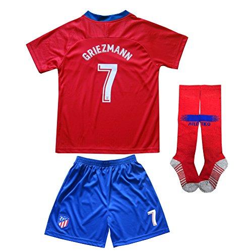 2018/2019 Atletico Madrid #7 Antoine GRIEZMANN Home Football Futbol Soccer Kids Jersey Shorts Socks Set Youth Sizes