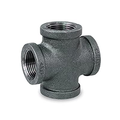Everflow Supplies BMCR0038 Black Malleable Cross Fitting