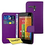 Moto G Case, FoneExpert® Premium Leather Book Wallet Case Cover For Motorola Moto G, 2013 (1st Gen) + Screen Protector & Cloth (Purple)