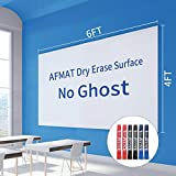 Dry Erase Paper, Big Whiteboard, 6'x4' White Board Paper Roll, White Board Adhesive Wallpaper, Large Stick on Whiteboard for Walls/Tables/Doors, 6 Markers, Super Sticky, No Ghost, 72 x 48 inches