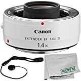 Canon Extender EF 1.4X III Accessory Bundle – Includes Lens Cap Keeper + Microfiber Cleaning Cloth