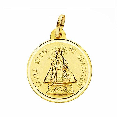 Médaille pendentif or 18k Virgen de Guadalupe 18mm. lunette lisse [AA2668]