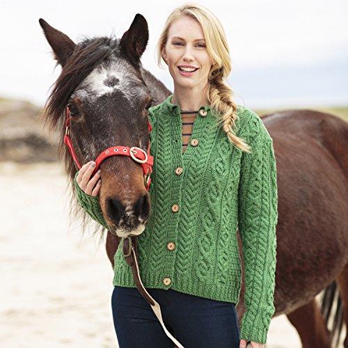 Carraig Donn 100% Irish Merino Wool Ladies Aran Sweater with button fastening by The Irish Store - Irish Gifts from Ireland
