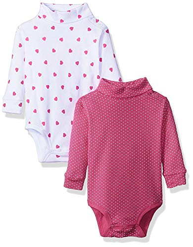 2 Pack T-Neck Bodysuit, Pink Hearts, 6 Months