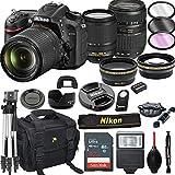 Nikon D7200 DSLR Camera with 18-140mm VR + Tamron 70-300mm + 32GB Card, Tripod, Flash, and More (21pc Bundle)