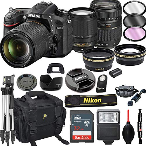 Nikon D7200 DSLR Camera with 18-140mm VR + Tamron 70-300mm + 32GB Card, Tripod, Flash, and More (21pc Bundle)