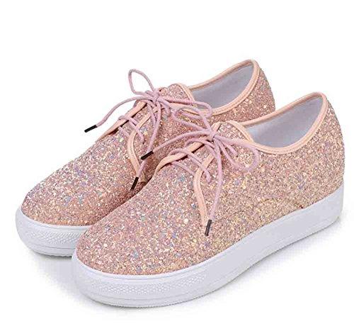 Easemax Womens Paljetter Glitter Snörning Rund Tå Låg Topp Höjd Dold Plattform Sneakers Rosa