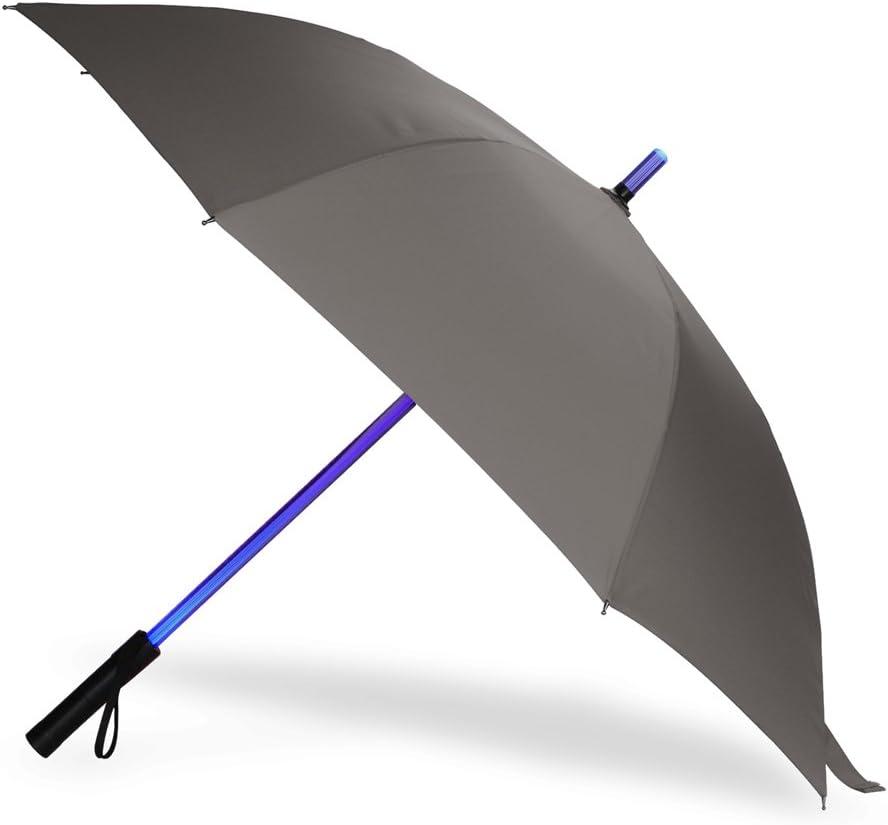 LED Paraguas Lightsaber Infantil Hombre Mujer, Luz para Arriba Paraguas de Golf con el Cambio de Color del Eje