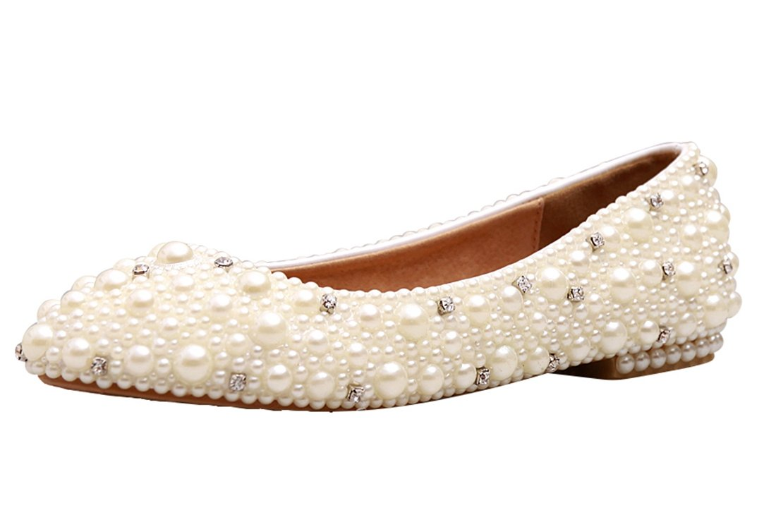 Minishion MZLL030 Women's Fashion Comfortable Handmade Pearl Ivory Satin Wedding Party Evening Prom Flats 7.5 M US