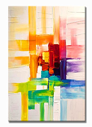 UAC WALL ARTS Modern Framed Art Abstract Oil Painting Colorful Square 1-Piece Gallery-Wrapped Wall Art on 3D Hand-Painted On Canvas Abstract Artwork Art ! 24x36Inch