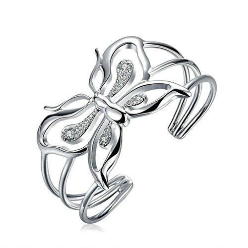 Aooaz Schmuck Damen Armband,Silber Vergoldet Eröffnung Aushöhlen Schmetterling Form Armreif Elegant Armband für Damen Hochzeit Silber