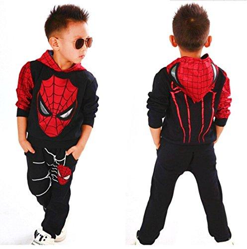 Hoodie and Pants Superhero Set (2-3 Years, Black Spiderman 2) ()