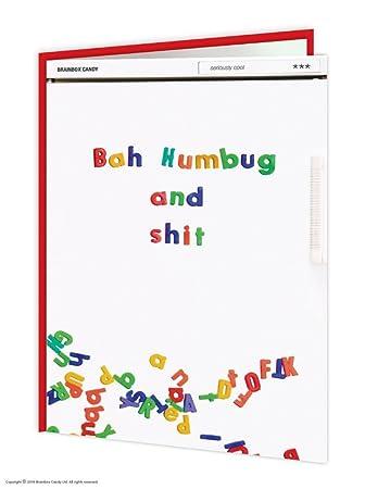 Funny Rude Humorous 'Bah Humbug And Shit' Fridge Magnets Christmas ...