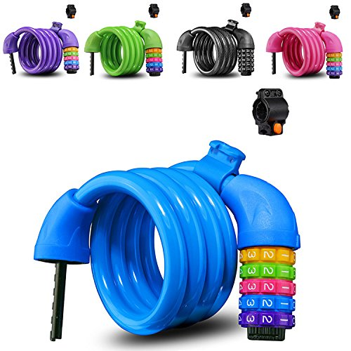 Bike Lock,Colorful Cable Lock,5-digit combination lock core,Length-4 feet,Protection of bicycles, mountain bikes, road bikes, motorcycles