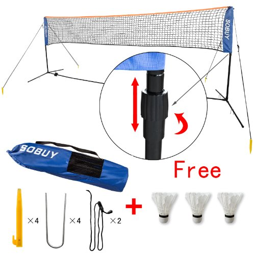 SoBuy¨ Height Adujstable Badminton Net, Tennis Volleyball Net with Stand / Frame