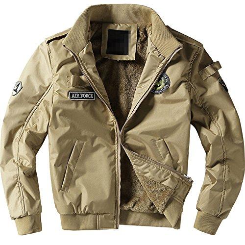 MRstriver New Men's Flight Jackets Military Uniform Casual Jacket Multi-Pocketed Tooling Jacket Military Tactical Jacket Men Khaki XL
