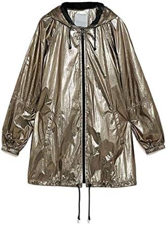 Ymay Impermeabile con Cappuccio Impermeabile Sottile Impermeabile Antivento di Donne di Estate e Felpa Allentato Metallo Street Fashion Impermeabile Oro (Size : X-Large)