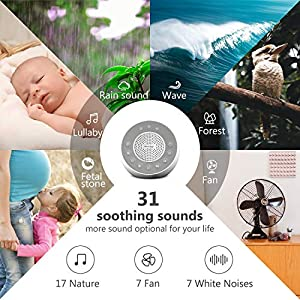 REACHER R2 White Noise Machine and Night Light with 31 Soothing Sounds, 0-100 Dimmable Color Changing Light, Sleep Timer for Sleeping, Feeding, Baby's Diaper Changing, Bedside Table