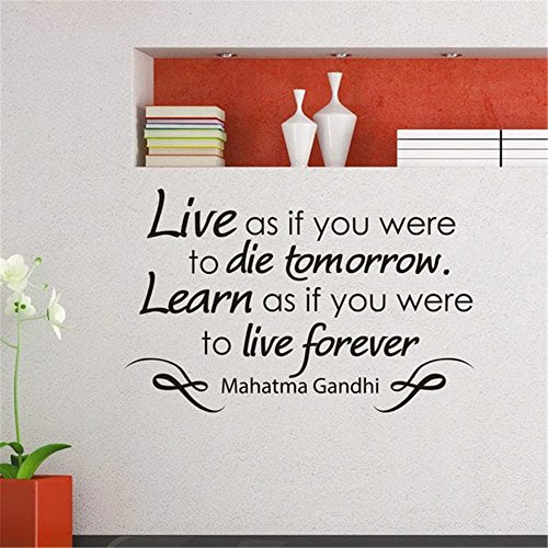 cbxrth wall sticker inspirational quotes Mahatma Gandhi Live as if you were to die tomorrow learn as if you were to live forever - Mahatma Gandhi Quote Sticker