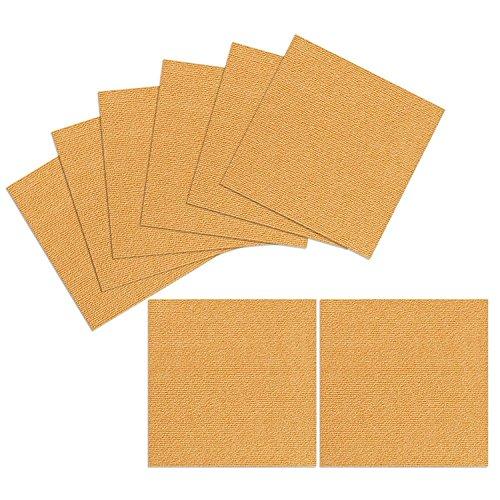 (TRILUC, 12 x 12 Place and Stick Carpet Tile Squares. Non Slip Backing & Washable Floor Tile - 8 Pc Set - Orange )