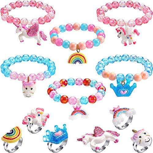 Hicarer 12 Pieces Unicorn Bracelet Ring Set Little Girls Jewelry Set Shiny Rainbow Unicorn Crown Beaded BraceletColorful Adjustable Rings for Toddler Little Girl Play Party Favors