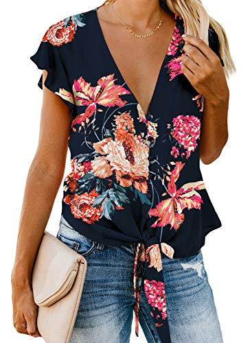 Asvivid Womens Casual Button Down V-Neck Floral Printed Summer Blouses T-Shirt Ruffles Cap Sleeve Self Tie Flowy Loose Tops M Blue
