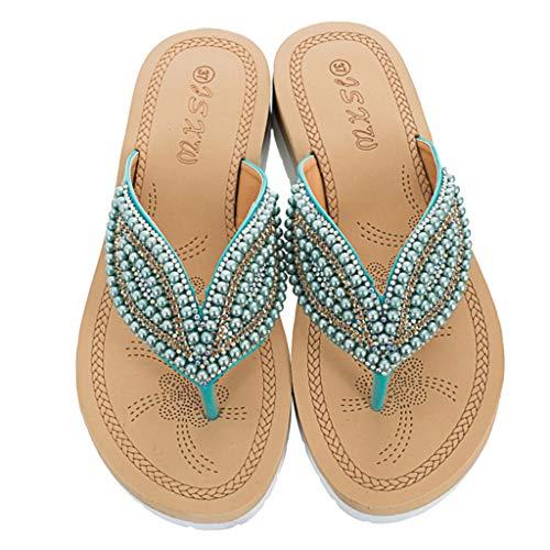Clearance! WomenLadiesBohemia String Bead Flat Flip-Flop Beach Casual Shoes Summer Summer Beach Platform/Wedge/High Heel Slippers for Girls Women Ladies Indoor Outdoor Under 10 Dollars