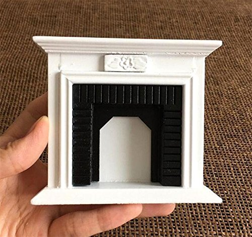 EatingBiting(R) 1:12 Dollhouse Miniature Fireplace Furniture Room Wooden Vintage Black White Fireplace, 1/12 Fairy Landscape, Handmade Craft Gift Vivid Design Home Decoration Mini Wood ()