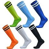 #7: VWU 6 Pack Unisex Knee High Double Stripes Athletic Soccer Football Tube Socks for Adults&Children