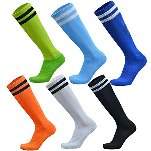 - VWU Unisex Knee High Double Stripes Athletic Soccer Football Tube Socks for Adults&Children (Multicolour, Large)