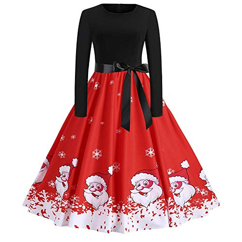 ses,Elegant Women's Vintage Print Long Sleeve Pleated Dresses Christmas Evening Party Swing Dress ()
