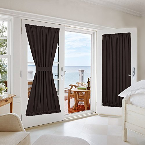 NICETOWN French Door Blackout Curtain - Thermal Insulated Privacy Blackout Drape Patio Door Blind and Shade Curtain Panel (One Piece, W54 x L72-Inch, Toffee Brown)